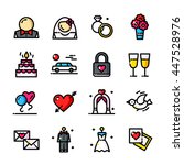 thin line wedding day icons set ...
