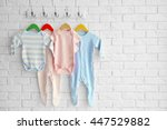 colorful set of baby romper on... | Shutterstock . vector #447529882
