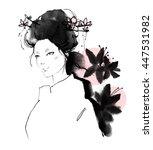 Geisha With Flower On White...