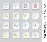 colorful line web icon set on...