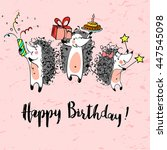 happy birthday sketched vintage ... | Shutterstock .eps vector #447545098