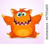 vector halloween cartoon of an... | Shutterstock .eps vector #447551605