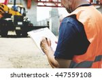 architect outdoors working... | Shutterstock . vector #447559108