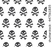 doodle style pirate skull and... | Shutterstock .eps vector #447561835