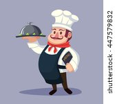 funny fat cartoon chief cook... | Shutterstock .eps vector #447579832