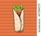 hand drawn doodle street food....   Shutterstock .eps vector #447584275