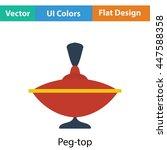 peg top icon. flat color design....