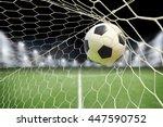 soccer ball in goal with... | Shutterstock . vector #447590752