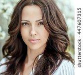 beautiful woman face   close up | Shutterstock . vector #447607315