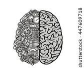 human machine brain with... | Shutterstock .eps vector #447609718