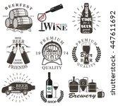 set of wine and beer signs ... | Shutterstock . vector #447611692