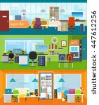 set of modern office interior... | Shutterstock . vector #447612256