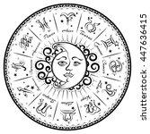 zodiac signs  horoscope  vector ... | Shutterstock .eps vector #447636415
