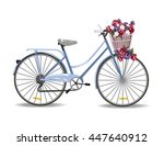 Bicycle With Flowers Isolated...