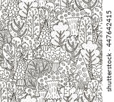 fantasy forest seamless pattern.... | Shutterstock .eps vector #447642415