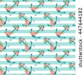 seamless pattern with anchors... | Shutterstock .eps vector #447644182