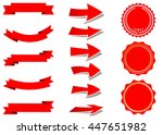 ribbon vector icon set red... | Shutterstock .eps vector #447651982