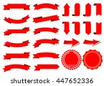 ribbon vector icon set red... | Shutterstock .eps vector #447652336