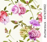 carnations  peony and roses... | Shutterstock .eps vector #447655402