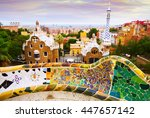 view of park guell in barcelona.... | Shutterstock . vector #447657142