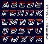 fast speed alphabet on black.... | Shutterstock .eps vector #447662116