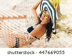pretty amazing cheerful young...   Shutterstock . vector #447669055