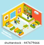 fast food restaurant interior... | Shutterstock .eps vector #447679666