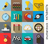 race icons set in flat style... | Shutterstock .eps vector #447684076
