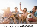 friends playing the guitar on... | Shutterstock . vector #447694102