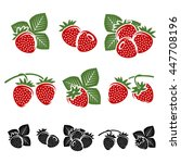 strawberries set. vector | Shutterstock .eps vector #447708196