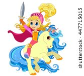 girl with a sword on a magical... | Shutterstock . vector #447715015