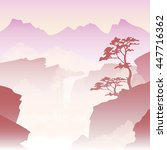 misty landscape in the chinese... | Shutterstock . vector #447716362