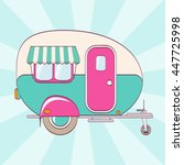 cute pink and turquoise camper... | Shutterstock .eps vector #447725998