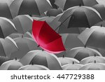 red umbrella stand out from the ... | Shutterstock . vector #447729388