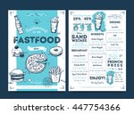 fast food menu design and fast... | Shutterstock .eps vector #447754366