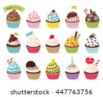 three rows of five cupcakes... | Shutterstock .eps vector #447763756