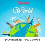 world landmarks. summer... | Shutterstock .eps vector #447769996