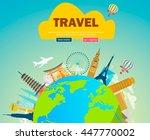 world landmarks. summer... | Shutterstock .eps vector #447770002