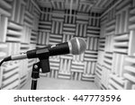 microphone in vocal booth ... | Shutterstock . vector #447773596