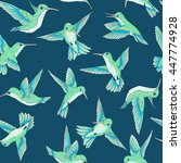vector seamless flying little birds of paradise conversation pattern, spring summer time, gentle romantic humming-bird, colibri background allover print design
