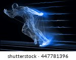 fast running man 3d of splines... | Shutterstock . vector #447781396