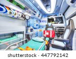 Small photo of Interior of an ambulance. HDR version. High key. Soft focus.