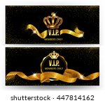 set of elegant vip cards with... | Shutterstock .eps vector #447814162