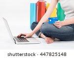 women hands holding a credit... | Shutterstock . vector #447825148