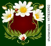 Vector Frame With Daisies And...