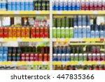 blur of bottles of beer  cider... | Shutterstock . vector #447835366