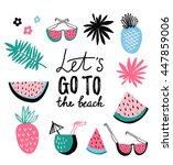 summer icon collection. vector... | Shutterstock .eps vector #447859006