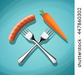 fork with sausage and carrots.... | Shutterstock .eps vector #447860302