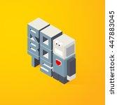3d lettering robots. vector... | Shutterstock .eps vector #447883045
