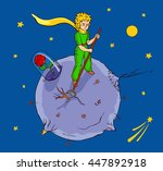 the little prince works on his...   Shutterstock .eps vector #447892918